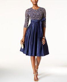 Jessica Howard Sequined Lace A-Line Dress | macys.com