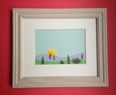 SM Framed Pressed Botanical  Art  Sunset Landscape by MyStoningtonGarden, $35.00
