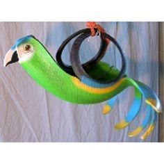 Green Parrot Tire Planter