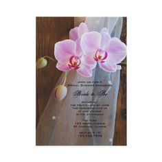 Invite your friends and family to a pre wedding party for the bride to be with a Rustic Elegance Country #Bridal Shower Invitation. Customize it with the details of your wedding shower. This elegant custom shabby chic Bridal Shower Invite features a photograph of brown barn wood, pink phalaenopsis #orchid flowers on the stem and a bridal veil. Perfect for a casual yet classy rural #country #farm, #rustic #barn or western #wedding #shower theme. http://www.zazzle.com/loraseverson…