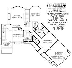 Ashland Manor II House Plan # 10088, 2nd Floor Plan, Traditional Style House Plans, European Style House Plans