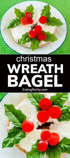 It's easy to turn a basic cream cheese bagel into a cute holiday wreath with spinach leaves and red pepper holly berries. Such a fun Christmas snack for kids! #snack #snackrecipes #christmassnack #cutesnack #cutefood #kidsnacks #healthykidsnacks #christmasfood #healthychristmasfood #christmasideas #christmasactivities #christmasbreakfast #bagel #creamcheese