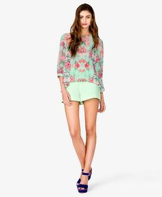 Floral Print High-Low Top | FOREVER 21 - 2040360045