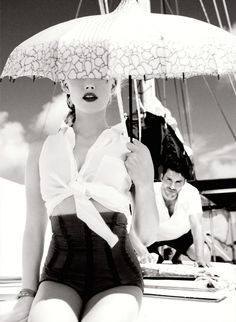 Amber Heard | Photography by Ellen von Unwerth | For Guess Campaign | Spring 2012 #umbrella