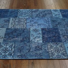 Patchwork Wool Rug in Blue