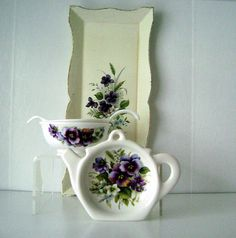 pansy tea set Italian serving tray English china by AnvilsAttic