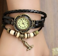 Genuine leather watches and women watches with jewelry parts