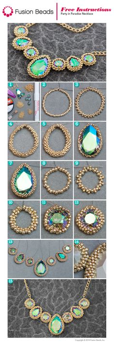 Learn how to make this Party in Paradise necklace beadweaving techniques for incasing gems