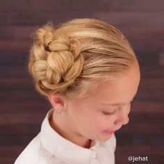 """Another view of Brighton's upward diagonal braid to bun with texturized hair!  #twinshair #braidphotos #braidsforgirls #cutegirlshairstyles #hairart…"""