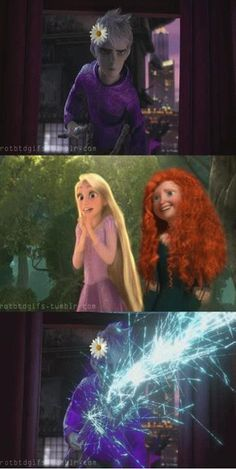 XD I could see Rapunzel trying to make Jack wear flowers. From the picture, I take it that he doesn't like them. XD