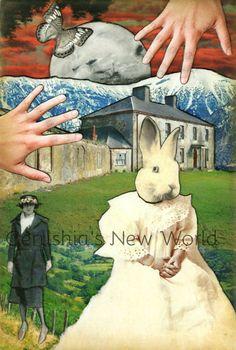 NEW -  Serafine's Daughter - ORIGINAL, Anthropomorphic, Collage, rabbit,  Fairy Tale Art