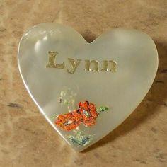 Lynn name vintage heart pin 1960s | vintage plastic jewellery | Jewels & Finery UK