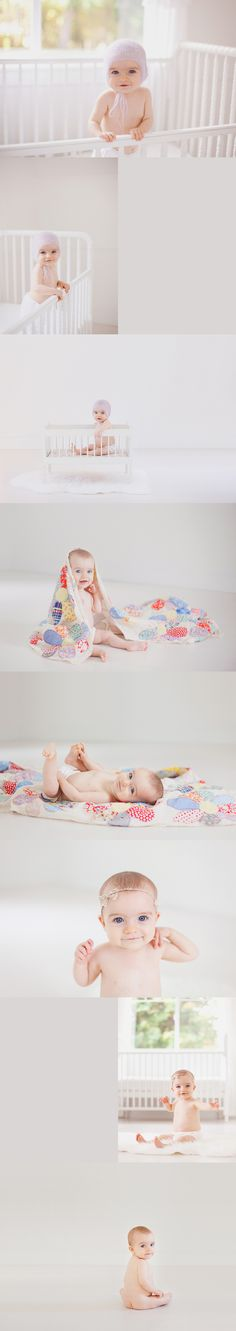 Baby session, eight months old, white studio, quilt