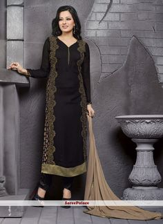 Vehemently Embroidered Work Georgette Churidar Designer Suit