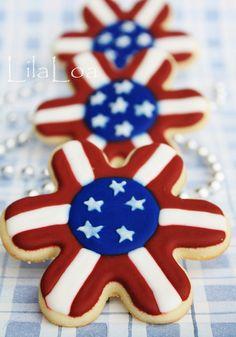 4th of July American flag star cookies!