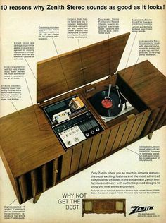 Zenith stereo system, 1967 This was our Record Player Sweet Memories, My Childhood Memories, Vintage Advertisements, Vintage Ads, Vintage Stuff, Vintage Decor, Vintage Looks, Home Music, Radios