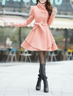 Pink Long  Dress Spring Trench Coats Wool Cape Coat Skirt Spring Cape Jacket-WH073 M,L,XL,XXL on Etsy, $69.99