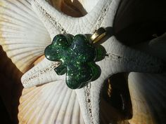 Green Sparkle St. Patrick's Day Shamrock Fused Glass Pendant Necklace Jewelry B1P5. $15.00, via Etsy.