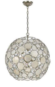 Crystorama 529-SA Palla Antique Silver Finish 21 Inch Diameter Large Ball Pendant Ceiling Light - CRY-529-SA