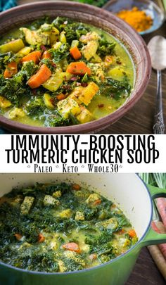 Immunity-Boosting Turmeric Chicken Soup Immunity-Boosting Turmeric Chicken Soup Holley Grainger Nutrition holleygrainger Soup Recipes Immunity-Boosting Turmeric Chicken Soup with carrots parsnips parsley ginger and nbsp hellip soup with bone broth Turmeric Soup, Turmeric Recipes, Paleo Recipes, Whole Food Recipes, Cooking Recipes, Health Soup Recipes, Candida Diet Recipes, Ground Turmeric, Paleo Meals