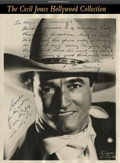38835f02e59f6 Tom Mix - Signed photograph. (ca. 1920s) Vintage original gelatin silver  double