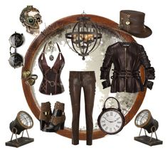 Steampunkery by mzilla on Polyvore featuring polyvore, fashion, style, Chicnova Fashion, Tom Ford, Isabel Marant, See by Chloé, Overland Sheepskin Co., John-Richard, Sea Gull Lighting, Dot & Bo, Nemesis, women's clothing, women's fashion, women, female, woman, misses and juniors