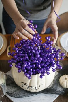 Halloween Party Ideas: A Glam Purple, Green and Black Tablescape