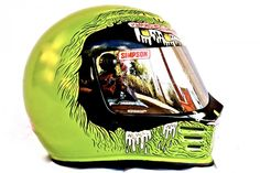 """Snell approved Simpson helmet. Painted by Corpses from Hell after the celebrated """"Song of the Sausage Creature"""" by Hunter S. Thompson. Badass."""