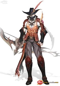 Male Character design with a bow and feather hat