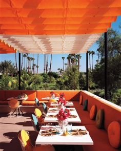Tangerine is a trending color this wedding season! Really vibrant and perfect for a summer wedding right now! The terrace of Norma's, at the Parker Palm Springs.