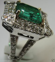Colombian Emerald & Diamond Engagement Ring Solitaire 18K Emerald-10.12 Carat  Diamonds-3.40 Carat Total Weight Fine Jewelry