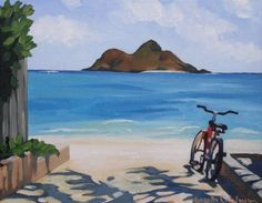 "Brenda Cablayan - Original acrylic on canvas ""The Bike"" 11""x 14"""
