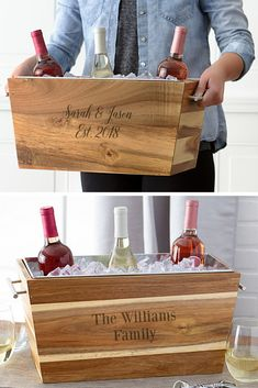 The Perfect Gift - Whether you are attending a House warming, birthday, wedding or family Christmas, this Acacia wood wine chilling trough personalized with a family name and date or nickname will be a treasure gift by guys and girls alike. Modern Vintage Homes, Vintage Home Decor, Homemade Gifts, Diy Gifts, Joanna Gaines, Chandeliers, Apartment Therapy, Décor Antique, Housewarming Party