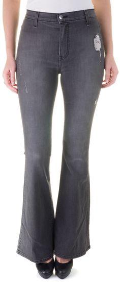 FoxyLux Junior's Gray High Waist Flare Leg Boot Cut Stretch Jean Distress Denim
