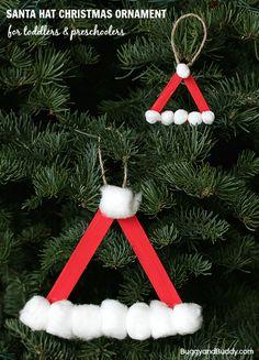 Perfect Christmas craft for preschoolers! (Santa Hat Homemade Christmas Ornament)~ BuggyandBuddy.com