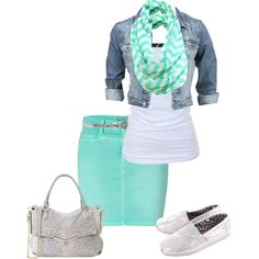 Teal pencil skirt, blue jean jacket, white tank top,  teal chevron scarf