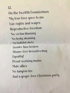 12 days of Christmas feminist version. 12 days of feministmas