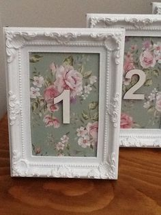 Pretty Vintage Shabby Chic Style Wedding Table Numbers 5 Photo Frames