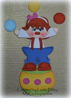 Juggle Clown Scrapbooking Embellishment Paper by MyCraftopia, $6.95