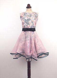 Pink Silk Baby Doll Dress  Vintage Blush by alexandrakingdesign
