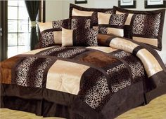 Bring a Luxurious touch of Elegance into your Bedroom with this 7 Piece Suede Bedding Set. These Comforter sets are designed to keep you updated and fashionable in the most convenient and inexpensive way. Queen Size Comforter Sets, King Size Comforters, Animal Print Bedding, Leopard Bedding, Animal Prints, Leopard Print Bedroom, Leopard Room, Leopard Animal, Console