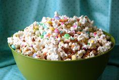 Easter Candy Popcorn- Popcorn, Pretzel stixs, M, White Chocolate, Easter colored Sprinkles