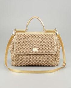 Dolce & Gabbana Miss Sicily Metallic Crochet Flap Bag - Neiman Marcus