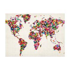 Mapa de las mariposas del mapa del mundo lona envuelta para galerías