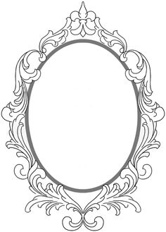 Vintage Frame Tattoo, Vintage Frames, Mirror Tattoos, Stencils, Framed Tattoo, Ornament Drawing, Carving Designs, Borders And Frames, Land Art
