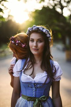 We are flowergirls flower wreath hair accessories costume Dirndl Oktoberfest Hairstyle, Oktoberfest Outfit, Flower Girl Hairstyles, Wedding Hairstyles, German Women, Hair Wreaths, Perfect Image, Cosmopolitan, Flowers In Hair