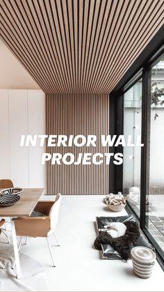 Wood Cladding Interior, Wall Cladding, Wood Slat Wall, Wood Panel Walls, Interior Ceiling Design, Interior Walls, Wood Ceiling Panels, Accent Wall Designs, Bedroom Crafts