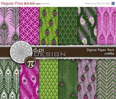 Pink and Green Peacock Feathers Digital Scrapbook by dxpidesign - $3.60