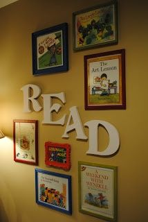 Framed children's book covers in a book nook.  We've always thought of book covers as art!  Could do in my classroom of books we have read together.