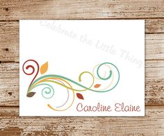 8 AUTUMN SWIRLS Note Cards / Personalized by CelebrateLilThings, $12.00